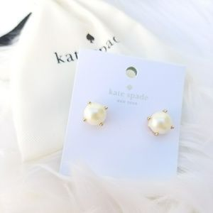 Kate Spade Cream Pearl Stud Gold Earrings